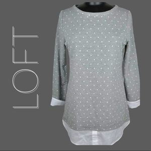 LOFT Gray White Dot Shirt Tail Sweatshirt Top XL